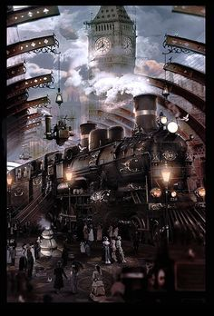 Alan Lynch Artists: Illustrators for book, editorial and film: NEKRO - Gideon Smith and the Mechanical Girl (Gideon Smith, #1) by David Barnett Steampunk City, Arte Steampunk, Steampunk Artwork, Steampunk Interior, Fantasy Art Landscapes, Fantasy Landscape, Steam Art, Train Art, Train Pictures
