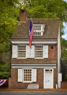 Betsy Ross's House, Philadelphia, PA.  Betsy is credited with making the first USA flag.  Her home, small and unassuming is still a place to stop when you visit Philadelphia.  She was quite the seamstress.  A must see for sewers.