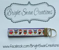 Owl hands-free key fob wristlet key chain - ready to ship