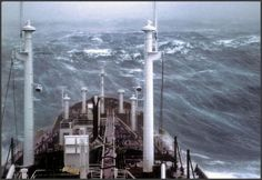 vintage everyday: Ship in a storm 1977 Sea Storm, Sea Photo, Nautical Theme, Cn Tower, Ocean, Storms, Building, Ships, Weather