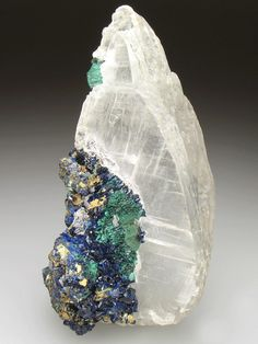 SELENITE with AZURITE and MALACHITE, Tsumeb Mine, Tsumeb, Otjikoto Region, Namibia, Africa