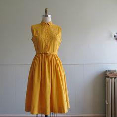 1950s vintage amber yellow embellished cotton shirtwaist dress, $78