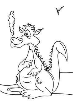 Free Online Printable Kids Colouring Pages - Worried Dragon Colouring Page