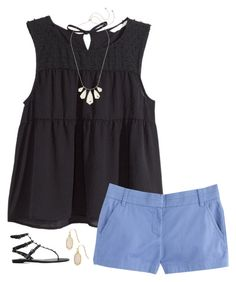 """""""Blue & Black"""" by allies410 ❤ liked on Polyvore featuring H&M, Kendra Scott, J.Crew and Valentino"""