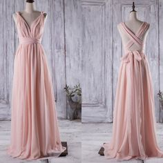 Hot selling pink long chiffon bridesmaid dress with sash