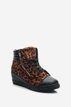 Trampki na delikatnej koturnie leopard