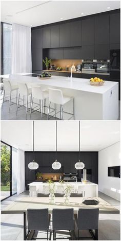 Another stand-out feature of this simple yet modern house is the contemporary black and white kitchen. Sleek, classy, and eye-catching, the black and . Modern Kitchen Cabinets, Modern Kitchen Design, Kitchen Layout, Interior Design Kitchen, Modern Design, Küchen Design, Layout Design, Design Ideas, Classic Kitchen