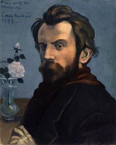 Émile Bernard  [French Symbolist Painter, 1868-1941]  Self-Portrait with a Vase of Flowers, 1897  oil on canvas  Rijksmuseum, Amsterdam (Netherlands)