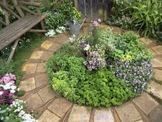 This sorta reminds me of a herb/ rose garden I made years ago, except mine was a larger circle with spokes like a wheel to divide the herbs and then it had a center circle for the roses.