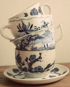 Japanese art printed teacups, blue