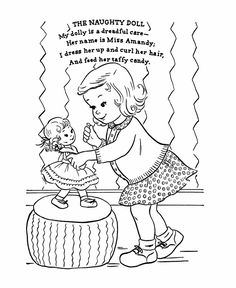 nursery rhyme coloring page the naughty doll