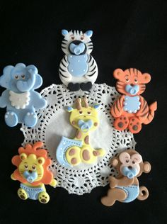 Cute Jungle Animals Cake Toppers, Baby Shower Favor, Baby Shower Cake Topper, Safari, Jungle Party Decoration, Baby Animal Cake Decoration, Jungle safari