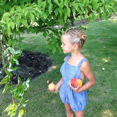 Picking pears and peaches from papa's trees. Say that three times. :) Also, the sweetest little play suit from @mabokids