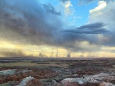 Storms moving across the Painted Desert in Petrified Forest National Park Arizona [OC][1578x1183]   landscape Nature Photos