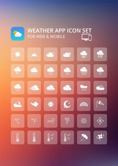 Weather App Icon Set For Mobile and Web - Icons - Fribly App Design, Icon Design, Mobile Design, Logo Design, Graphic Design, Icon Png, Ui Design Inspiration, Design Ideas