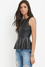 forever 21 faux leather peplum