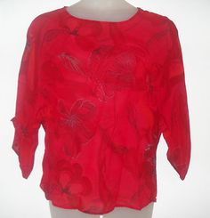 CHICOS Red Batwing 3/4 sleeve Flowers Rayon sheer Blouse shirt top Size 1