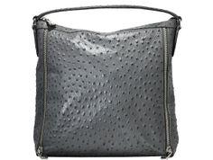 Furla - Ostrich Embossed Leather Shoulder Bag - Gray