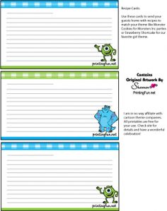 Little Mermaid recipe cards   Recipe Cards   Pinterest   Recipe cards and Recipes