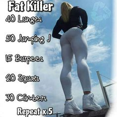 Fat Killer Workout - Fitness HIIT training plan for a healthy body Killer Workouts, Fun Workouts, Cross Fit Workouts, Circuit Workouts, Fitness Workouts, Hiit Leg Workout, Hiit Training Plan, Cross Training Workouts, Wods Crossfit