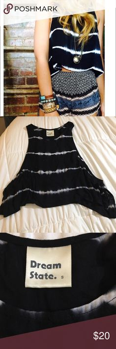 LF tie dye top LF black and white tie dye top, all open on the sides LF Tops Muscle Tees