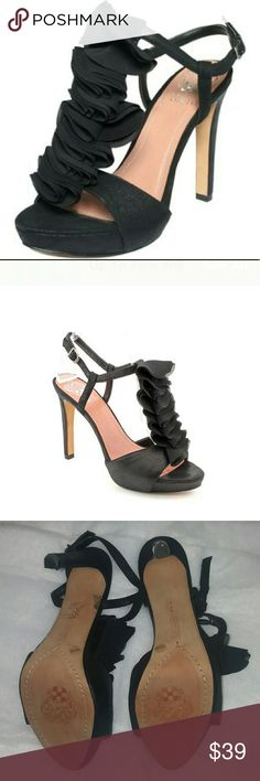 """Vince Camuto The Vince Camuto Miston Platform Sandals move elegantly from day to night with their ruffled t-strap decor, chiffon finish and feminine silhouette. Fabric upper Sandal with adjustable buckle slingback and ruffle decor 1"""" covered platform; 4-3/4"""" covered heel Man-made sole.  Pre-owned excellent condition. Vince Camuto Shoes Heels"""