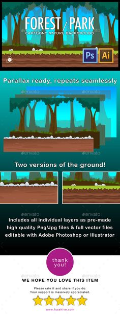 2D Forest Park Parallax Nature Background - Backgrounds Game Assets