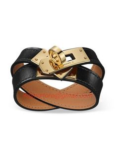 Hermes Kelly Double Tour Black Leather Bracelet with Gold-Plated Clasp