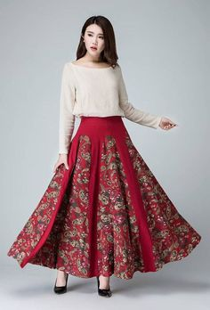 floral skirt Linen skirt red maxi skirt flower skirt by xiaolizi Floral Skirt Outfits, Denim Skirt Outfits, Flower Skirt, Linen Skirt, Mode Hijab, Vintage Skirt, Fall Dresses, Dress Skirt, Kid Styles