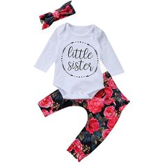 324a6762627c2 Baby Girls Little Sister Bodysuit Tops Floral Pants Bowknot Headband  Outfits Set    Learn more