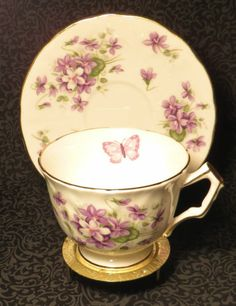 Vintage Aynsley Bone China Made in England Violets Butterfly Tea Cup and Saucer