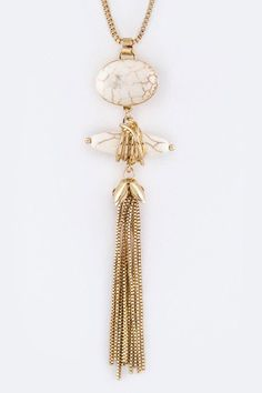 {Precious Stones And Chain Tassels Long Necklace Set}