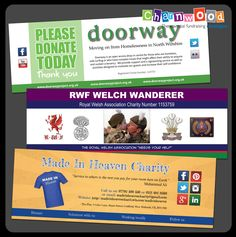 Collection pot wrap around labels designed and printed for Doorway, Made in Heaven and RWF Welch Wanderer.  If you are interested in our collection box and bucket labels please visit our website:  www.charnwood-catalogue.co.uk  #charity #fundraising #fundraisingsupplies