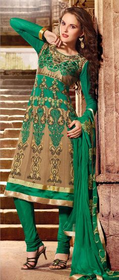 #Green and Light #Brown Faux #Georgette Flared #Churidar Kameez @ $122.52