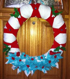Turquoise red and white wreath by GoodnightMyLove on Etsy, $50.00
