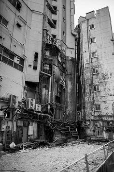 In-between the buildings