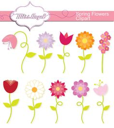 Flowers CLIPART SET 10 Digital Spring Flowers. by MissAngelClipArt, $4.49