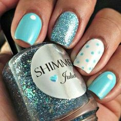 Nails blue white polka dots glitter summer