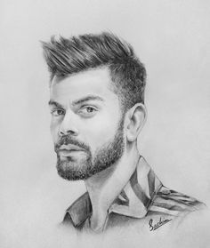 Virat Kholi Check my YT channel D's games mania Pencil Sketch Portrait, Portrait Sketches, Art Drawings Sketches, Easy Drawings, Abstract Sketches, Pencil Drawings Of Girls, Pencil Drawing Tutorials, Beautiful Pencil Sketches, Virat Kohli Wallpapers