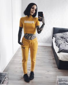 """59.2k Likes, 310 Comments - Monami Frost (@monamifrost) on Instagram: """"In the cold winter I am my own sunshine ! ☀️❄️ #ootd  @puma exclusive to @asos Crop top and Sweats…"""""""