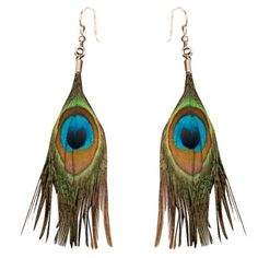 Party Favor- Peacock Earrings with Turquoise Feather - Party City