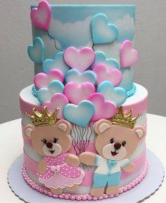 Cute! Pretty Cakes, Cute Cakes, Beautiful Cakes, Yummy Cakes, Amazing Cakes, Fondant Cakes, Cupcake Cakes, Bolo Fack, Baby Reveal Cakes