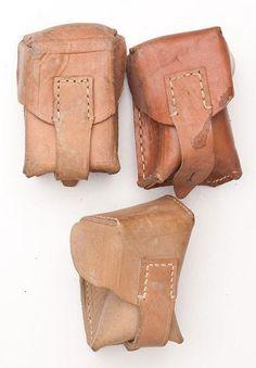 Vintage Yugoslavian army leather Mauser ammo single belt pouch