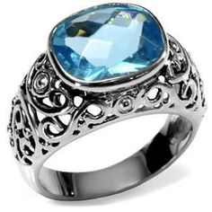 Principessa - Raised Cushion Cut Aquamarine Cubic Zirconia Cocktail Ring in Stainless Steel