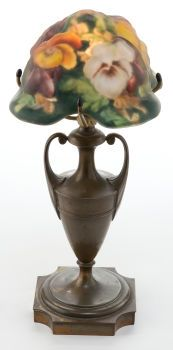 Art Glass:Other , PAIRPOINT LAMP BASE WITH PUFFY GLASS SHADE .  circa 1900