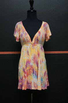 YAG COUTURE Orange/Purple/Pink Cotton Blend V-Neck Short Sleeve Sz M #13931 | Clothing, Shoes & Accessories, Women's Clothing, Tops & Blouses | eBay!