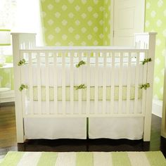 White Pique and Green Baby Bedding from PoshTots