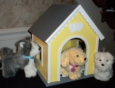 Yellow Dog house or pet house for American girl doll pets Yellow. $58.00, via Etsy.