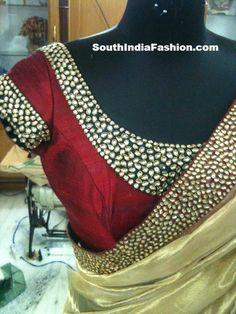 Gold sari, red blouse, beadwork