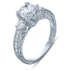 1.65 CT ROUND CUT THREE STONE VINTAGE HAND ENGRAVE DIAMOND ENGAGEMENT RING